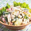 鶏肉とりんご、きゅうりのサラダ