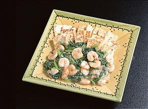 豆腐ステーキ えび入りあんかけ