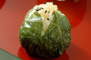 野沢菜+たくあんの手まりずし