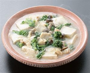豆腐と菜の花、貝柱の煮もの