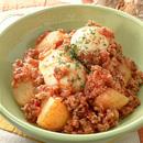 ゆで卵と合いびき、ポテトのトマト煮