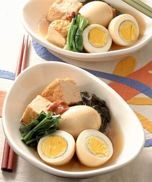 ゆで卵の梅と厚揚げ入りあっさり煮