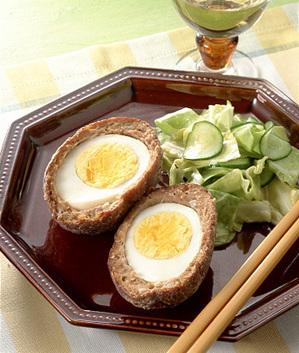 ゆで卵のいわしのすり身揚げ