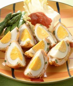 ゆで卵のつくね包み揚げ