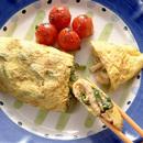 鶏とピーマンの炒めもの包みオムレツ