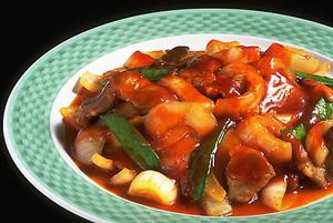 新玉ねぎと豚肉のチリソース煮