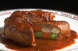 牛薄切り肉の三色野菜巻き煮
