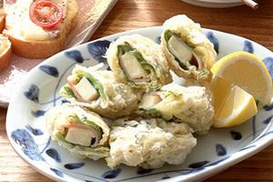 サラダ菜巻きチーズ天ぷら