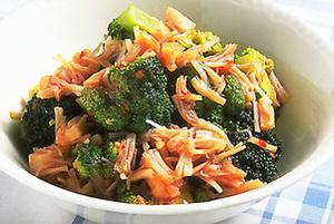 ブロッコリーと貝柱のピリ辛サラダ