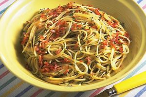 ベーコンと青じそのスパゲティ