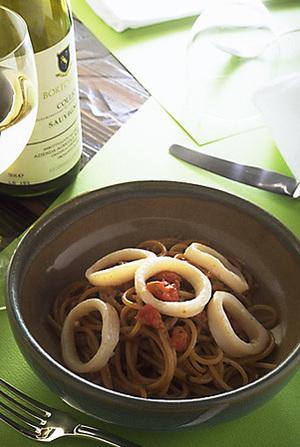 いかの肝のスパゲティ