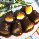 牛肉の卵巻き照り焼き