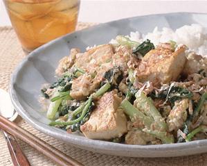 小松菜と豆腐のチャンプルー風