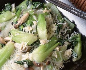 青梗菜と春雨の帆立て風味炒め