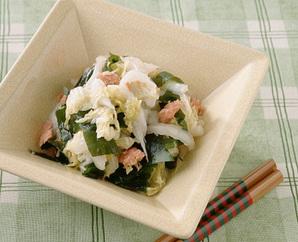 白菜の鮭フレークあえ