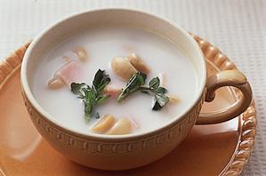 マッシュルームとハムのミルクスープ