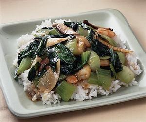 青梗菜とえびのあんかけご飯