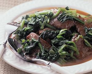 小松菜と牛肉の炒め