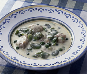 そら豆と鶏肉のクリーム煮