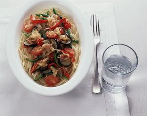 夏野菜とベーコンのスパゲティ