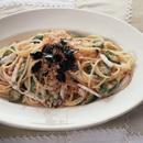 オクラと明太子とたこのスパゲティ