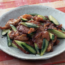 豚肉ときゅうりの梅肉炒め