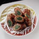 にんにくの茎巻き豚肉のオイスターソース味