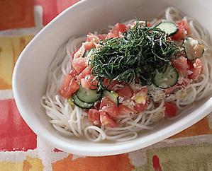 トマトと帆立ての冷製麺