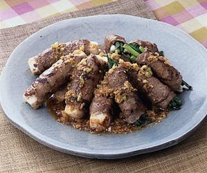 豆腐と万能ねぎの牛肉ロール