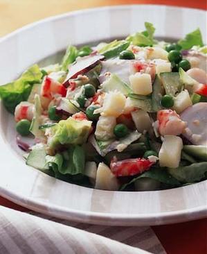 魚介と春野菜のピリ辛マヨネーズあえ