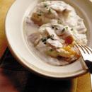 半熟卵のマッシュルーム入りホワイトソース