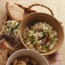 かきとサラダ菜のスープご飯