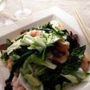 キャベツ、えび、菜の花の塩味炒め
