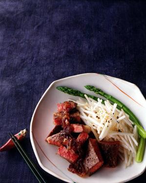 すき焼き風甘辛だれステーキ+もやしのソテー