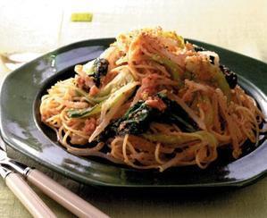 ごま風味の明太子スパゲティ