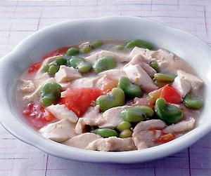 豆腐とそら豆の塩味煮