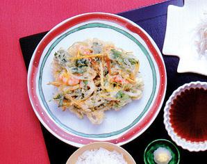 秋野菜とえびのかき揚げ
