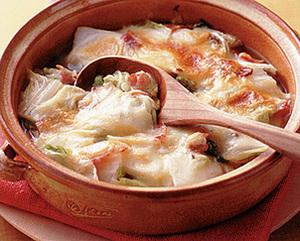 白菜とベーコンのチーズ焼き