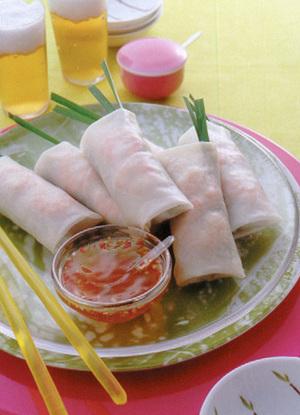 煮豚を使ったベトナム風生春巻き