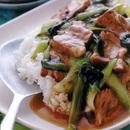 煮豚と青梗菜のあんかけご飯