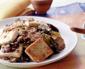 豆腐と高菜漬けの中華炒め