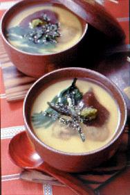 かきとほうれん草の茶碗蒸し