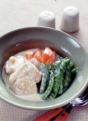 さや豆と鶏肉のクリーム煮