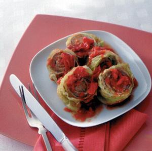 ピリ辛トマトロールキャベツ