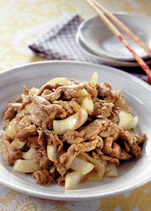 豚肉と新玉ねぎのカレー炒め