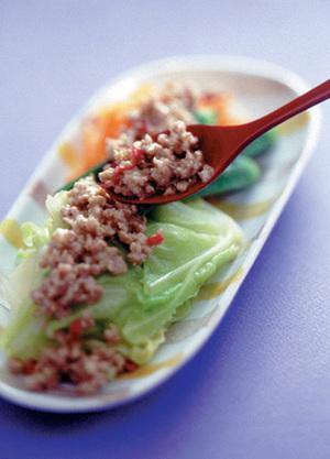 ゆで野菜の「ピリ辛味」の素かけ