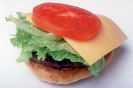 トマト+チーズ+レタスのハンバーガー