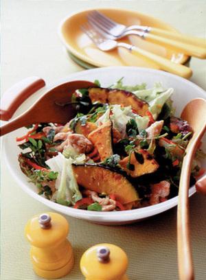 こんがりかぼちゃと豚肉のサラダ