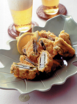 れんこんと鶏ささ身のカレー風味揚げ