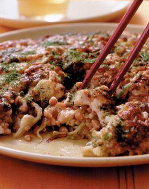 豆腐と納豆のお好み焼き風